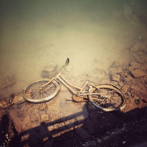High angle view of abandoned bicycle at lakeshore