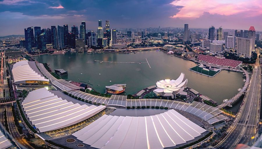 Directly Above Shot Of Marina Bay Sands And Artscience Museum By River In City