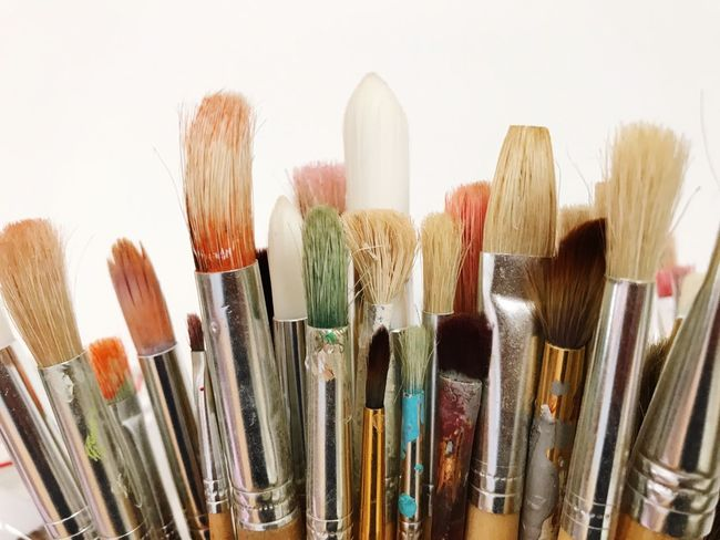 Studio Shot Indoors  Close-up No People White Background Bruches Painting Painting Brushes One Step Forward