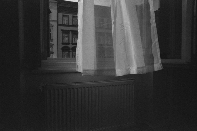 Morning's ghosts Analog Analogue Photography Black And White Contrast Curtain Grain Inside No People Prague Tranquility Transparent Travel Window