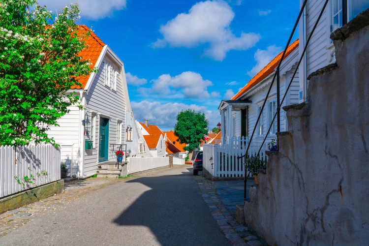 Streets of Skudeneshavn Architecture Building Building Exterior Built Structure City Cloud - Sky House No People Outdoors Residential District Road Shadow Sky Street Sunlight The Way Forward