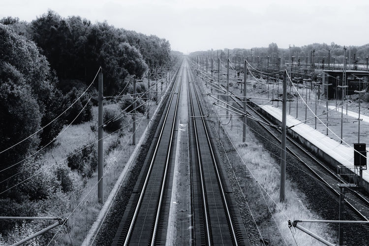 High Angle View Of Railway Track
