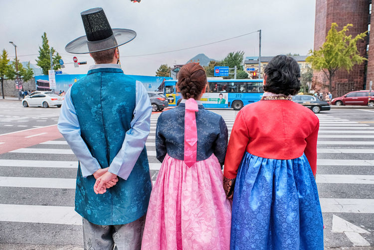 Waiting for the green light in Hanbok City Life Day Hanbok Korean Traditional Clothes My Family Outdoors Person Sky Transportation Fresh On Market 2016
