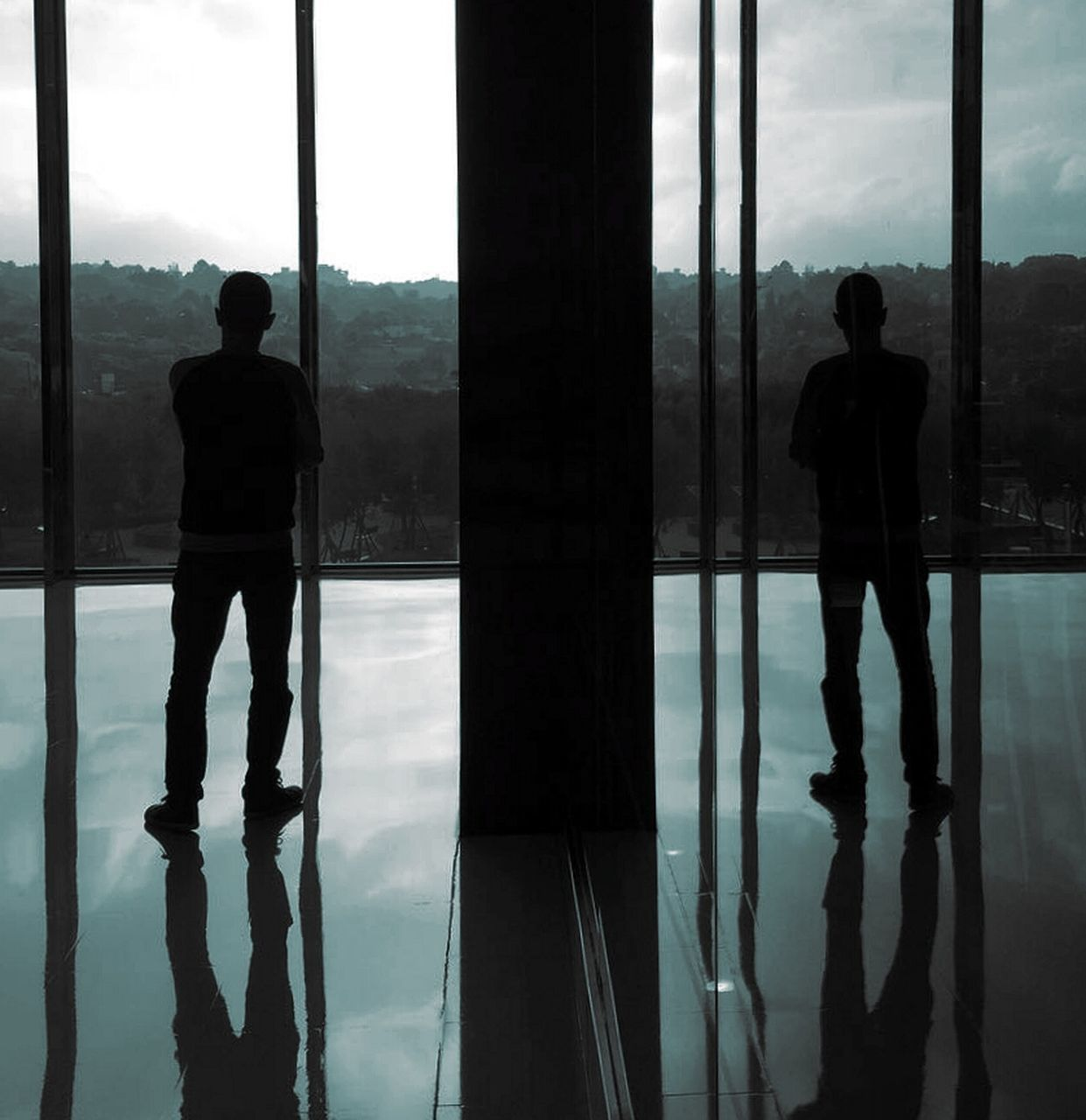reflection, silhouette, standing, real people, full length, indoors, sky, window, men, day, cloud - sky, lifestyles, one person, water, architecture, nature, people