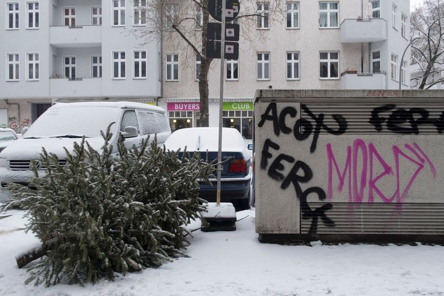 Winter Snow Cold Temperature Building Exterior Built Structure Architecture White Color Weather Tree City Outdoors House Nature Car Day No People Christmas Tree Graffiti Berlin