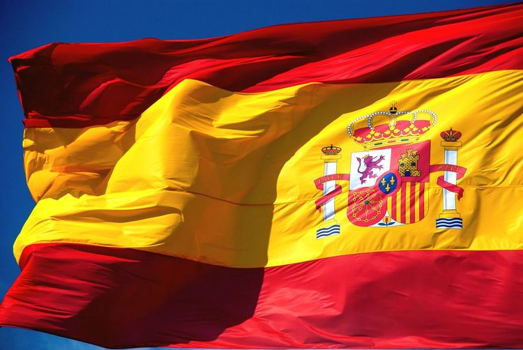 Flag of Spain Symbol Nation Patriotic Spanish Waving Flag SPAIN Textile Multi Colored No People Flag Red Full Frame Yellow Backgrounds Patriotism Close-up Pride