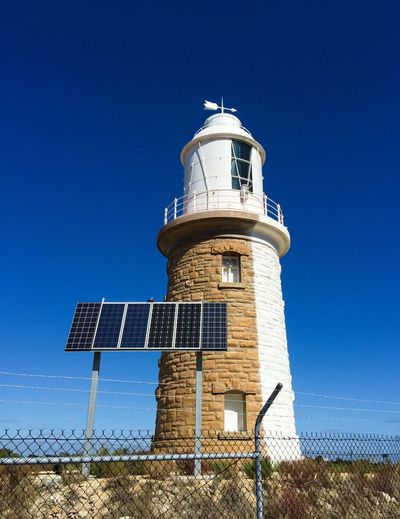 Woodman Point Lighthouse Woodman Point Lighthouse Lighthouse Half Painted White Limestone Brick Architecture Landmark Building Lantern Room Weather Vane Coogee Western Australia Historic Old Coogee Lighthouse Two Faces Multiple Personalities Solar Panel