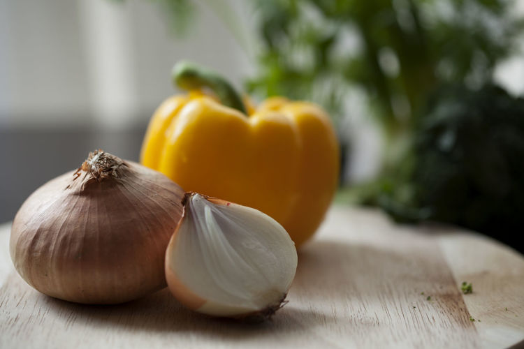 Close-up of onion on table
