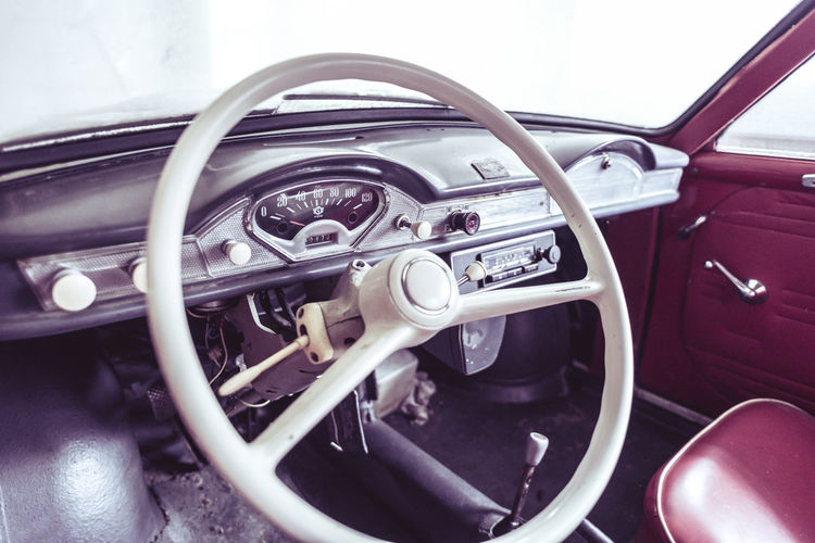 Abandoned Car Car Interior Close-up Collector's Car Dashboard Driving Driving Wheel Gearshift Goggo Goggomobil Land Vehicle No People Old Old-fashioned Oldtimer, Rotten Speedometer Steering Wheel Transportation Vehicle Interior Vintage
