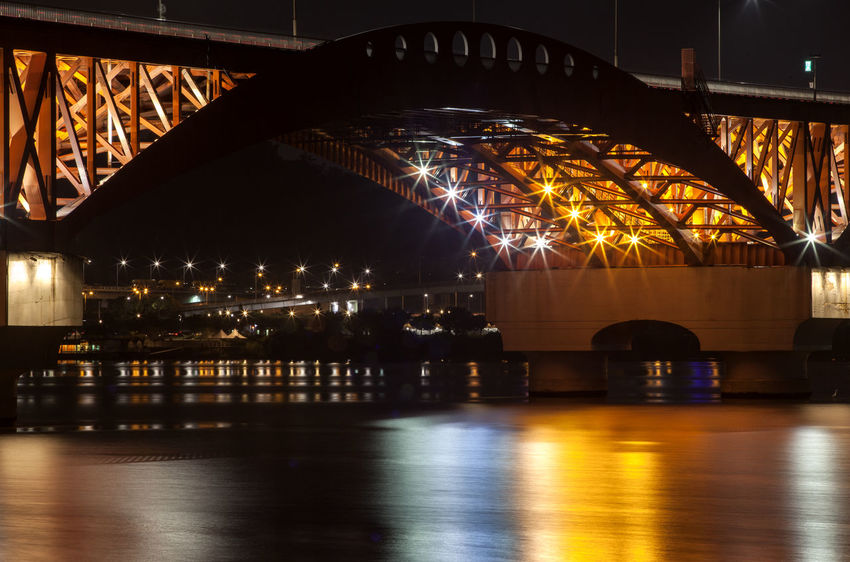 Architectural Column Architecture Built Structure City City Life Dark Engineering Frame In Frame Glowing Han River Hangang Illuminated Light Modern Night Night View No People No People, Reflection Seongsandaegyo Sky Tranquility Travel Destinations Water