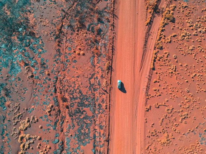 Drone Shot Of Car Moving On Landscape