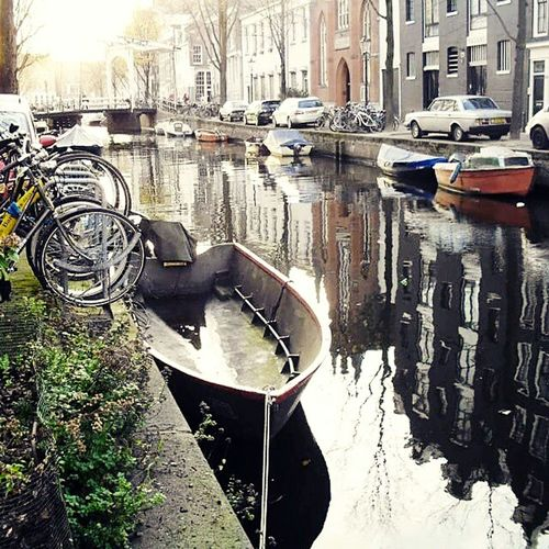 City Reflection Water City Life Picture Memories Amsterdam Canal Boat Bicycle Winter Cold Temperature Hot Heart Cloudy Day EyeEmBestPics
