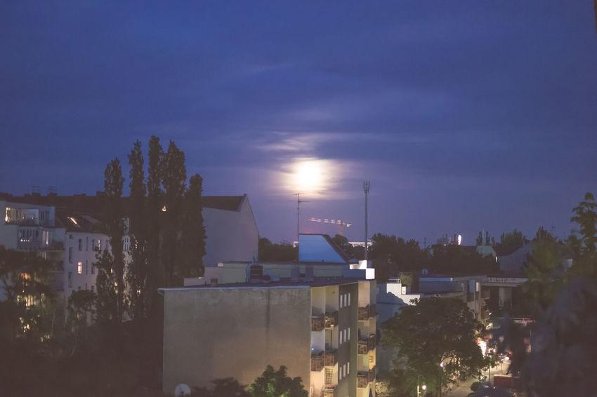 Architecture At Night Built Structure Cities At Night City City At Night City Life Cloud - Sky Cloudy Illuminated Moon Moon Light Moonlit Neukölln No People Rooftops Sky Street Streetlight View From Balcony