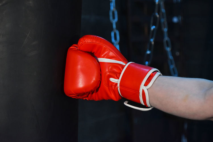 Cropped Image Of Hand Wearing Red Boxing Glove