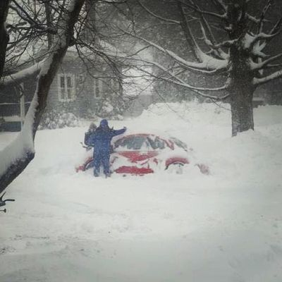 This...is called delegation. Igersofnewengland Ig_newengland Snow Car blizzard trees vw shovel