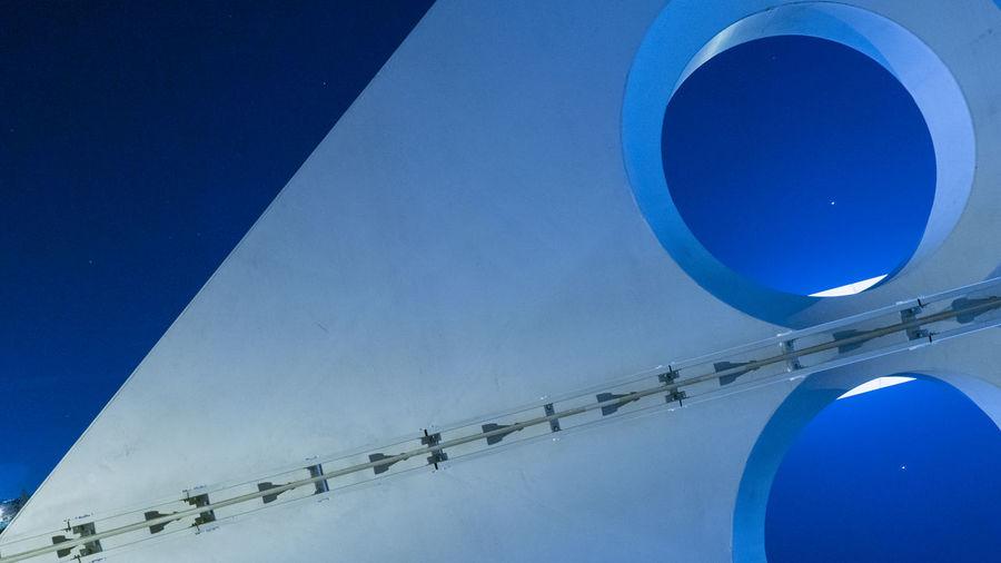 Architecture Calatrava Part Of Arch Architectural Column Blue Blue Sky Bridge Bridge - Man Made Structure Building Exterior Calatravaarchitecture Calatravabridge Design Detail Details Italy Nighe View Night Reggioemilia Reggionellemilia EyeEmNewHere