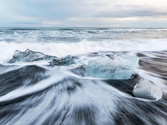 Long exposition of diamond beach,  iceland