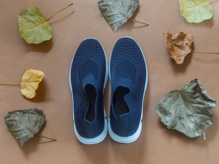 High angle view of shoes and dry leaves on table