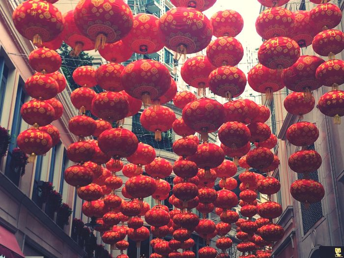 Chinese lanterns hanging on street