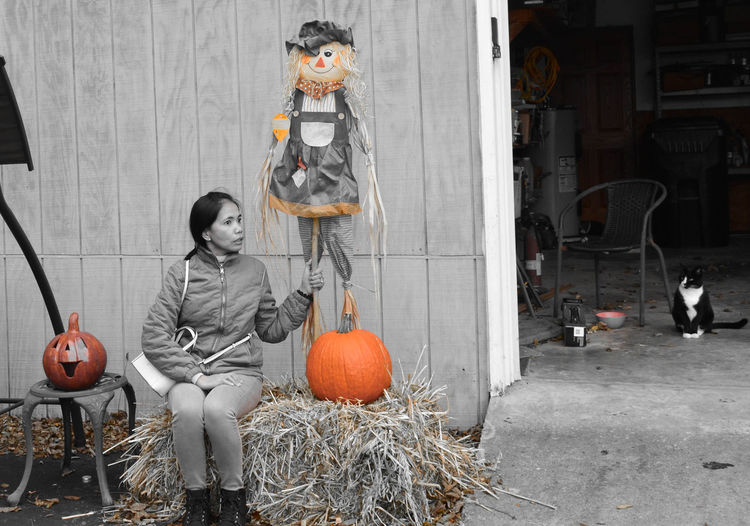 Color Filter Day Halloween Jack O Lantern No People Orange Color Outdoors Pumpkin Scarecrow