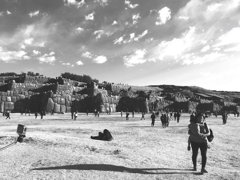 Sacsayhuaman Cusco Peru Culture Landscape Black And White