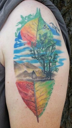 Tattoo Life Vibrant Color Upper Arm Tattoo Leaf Tattoo Fall Tattoo Unique Tattoo Concept Personal Phoenix