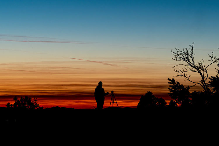 Silhouette man standing by trees against sky during sunset