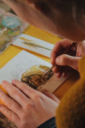female artist painting a picture withwatercolour Art Artist ArtWork Brush Closeup Creative Creativity Detail DIY Drawing Fantasy Handmade Illustration Illustrator Indoors  Painter Painterly Painting Picture Precision Student Table Watercolour Woman