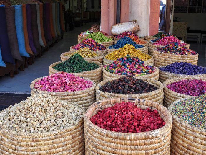 Market Spices Colors Colorful Bazaar Souk Bags Sack Morocco Marakesh