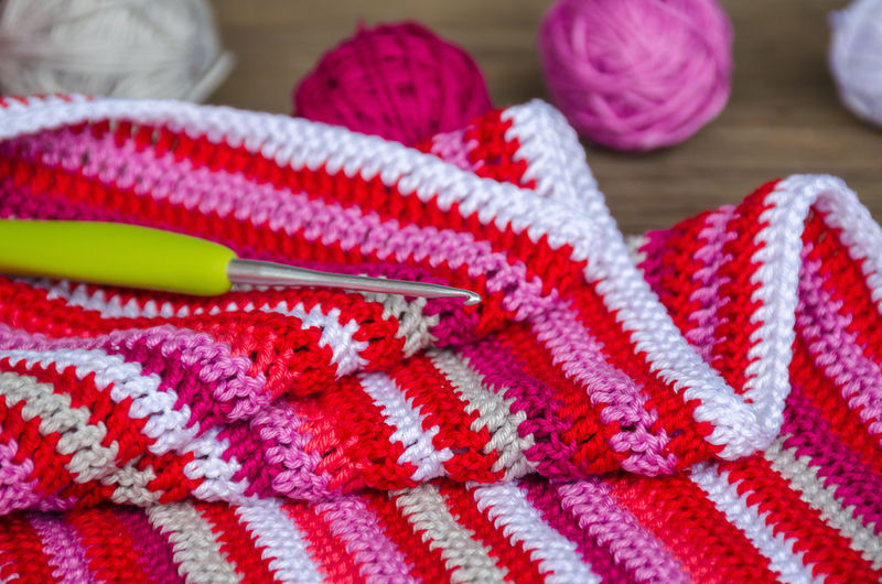 Close-up of crochet and knitted wool