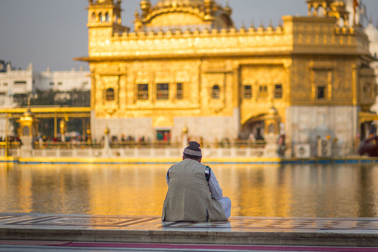 Rear view of man looking at golden temple while sitting on retaining wall by pond