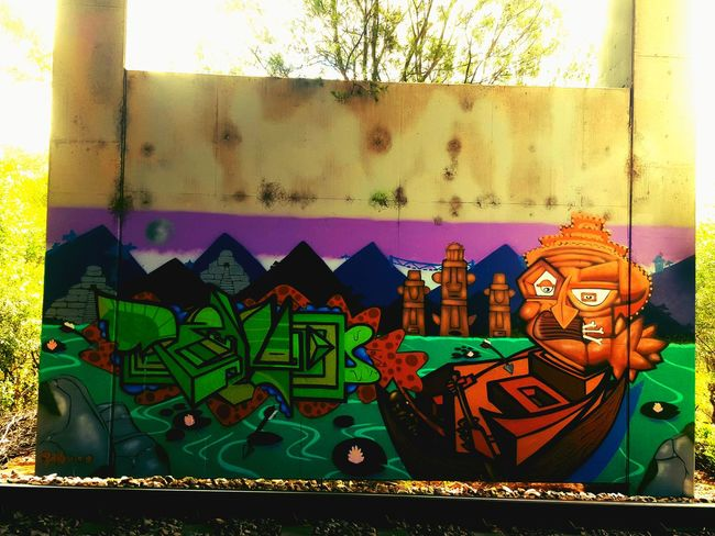 Secret Spots Graffiti Wall ArtWork Ironlak Spray Paint Huge Nice Colors Trainline Traintracks Hot Day Piece Of Art No People Multi Colored Window Day