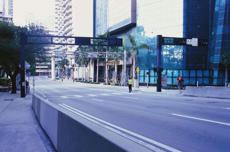 City street by modern buildings