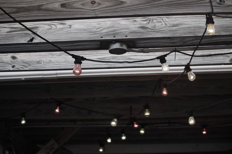 Hanging Low Angle View Ceiling Indoors  Illuminated Built Structure Day Real People Architecture Dick's Last Resort Myrtle Beach SC Edison Bulb Color The Architect - 2017 EyeEm Awards The Still Life Photographer - 2018 EyeEm Awards
