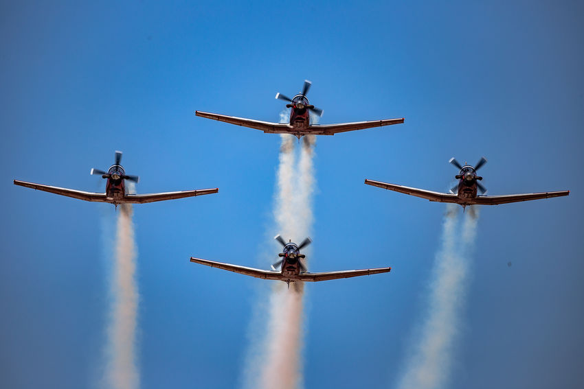 Aerobatic, Team, Flying, Aircraft, Vintage Aerobatics AerobaticTeam Airplane Airshow Airshow Aviation Beechcraft Blue Blue Sky Clear Sky Flying Formation Flying IAF Ii Independence Day Israel Israeli Air Force Low Angle View Mid-air Military Airplane Sky Smoke Speed T-6 Texan