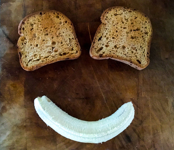 Banana Bread Close-up Day Eat Me Face Food Food And Drink Freshness Healthy Eating High Angle View Indoors  No People Ready-to-eat SLICE Smiling Table Toast And Bana Toasted Bread
