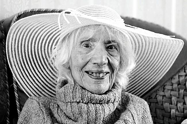 Miss Anita Goodhew age 94Monochrome Blackandwhite Photography Portrait Senior Pictures  Pensioner Old And Beautiful Old Age Hat Happy Women Who Inspire You