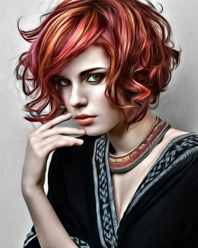 Hairstyle Red Digital Painting Fashion Beauty