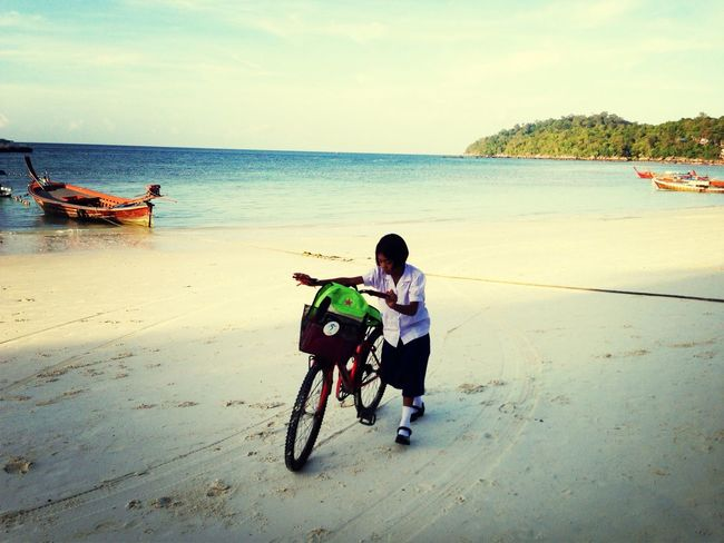 My Best Photo 2014 Kohlipe Student Life Bike Going To School Beach Thailand School Uniform Morning