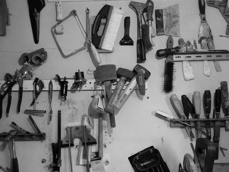 Black&white Black And White Old Shed Tools Workshop