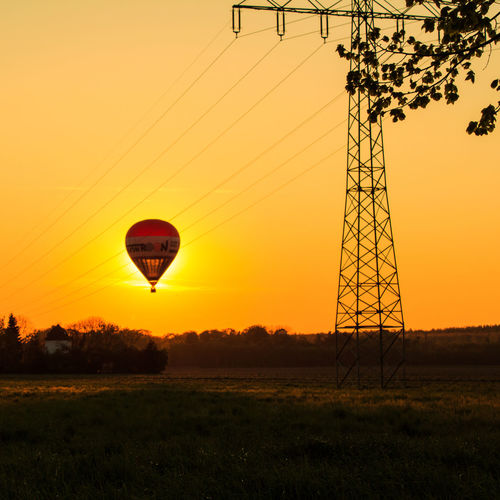 Light Sommergefühle Summertime Beauty In Nature Clear Sky Day Electricity Pylon Field Grass Hot Air Balloon Landscape Nature No People Outdoors Silhouette Sky Sommer Summer Sun Sunset Tree