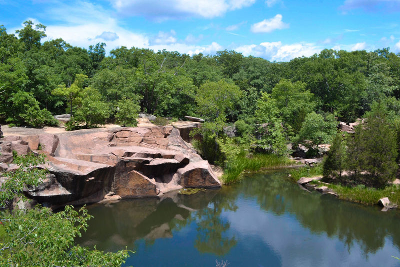 Elephant Rocks State Park Beauty In Nature Blue Sky Cloud - Sky Day Elephant Rocks Granite Growth Nature No People Outdoors Quarry Reflection Sky Tree Water