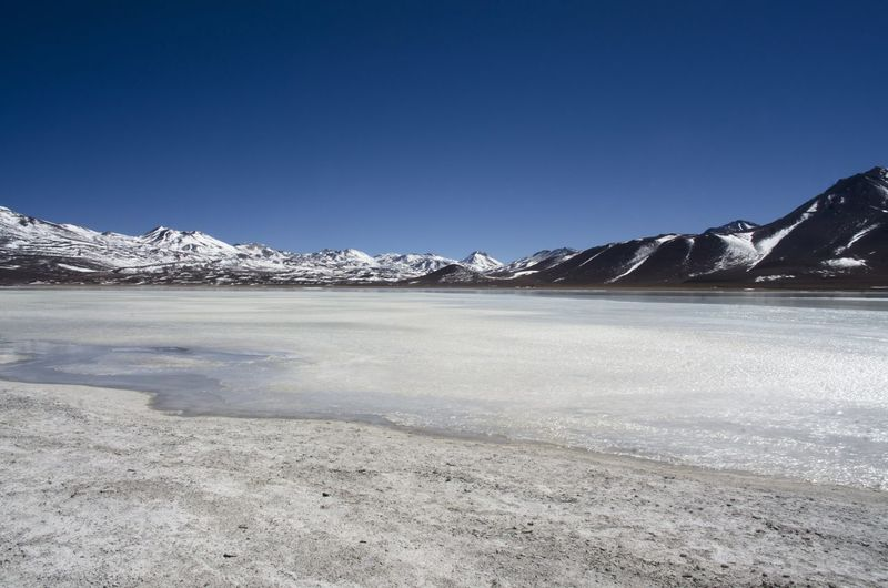 Scenics - Nature Winter Sky Cold Temperature Mountain Environment Tranquil Scene Landscape Beauty In Nature No People Snow Day Nature Tranquility Lake Blue Copy Space Water Clear Sky Salt Flat Outdoors Ice Snowcapped Mountain Climate