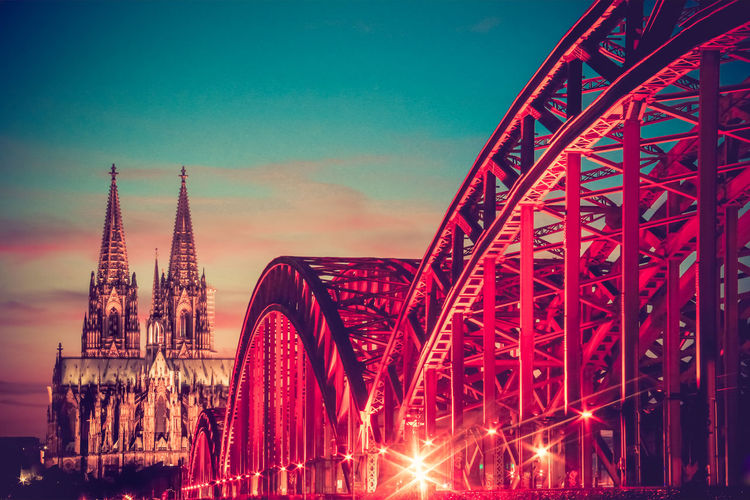 City Cologne Red Architecture Arts Culture And Entertainment Bridge - Man Made Structure Built Structure City Citylife Connection Illuminated Low Angle View Night No People Outdoors Red Sky Travel Travel Destinations Urban Water