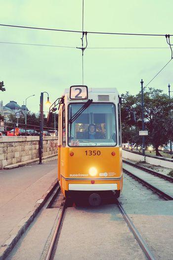 City Budapest Vengria Travel Transport Tram Iron Tracks Evening Light Way