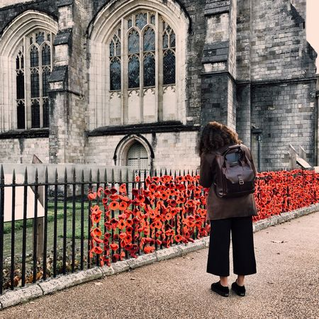 Remembrance Remembrance Day Poppy Red Poppy Poppy Flowers Architecture Built Structure Real People Building Exterior One Person Women Standing