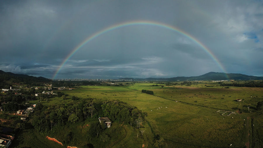 Rural side DJI Mavic Pro Shotsonearth Natgeo Brasil Dji Aerial View Aerial Shot Mavicpro Djiglobal Landscape Natgeotravel Spectrum Rainbow Double Rainbow Cloud - Sky Storm Cloud Refraction Poppy Storm Dramatic Sky Forked Lightning Lightning