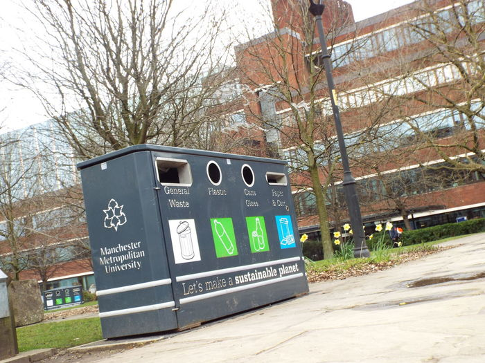 University Going Green Recycling Recycle Bin Manchester Metropolitan University