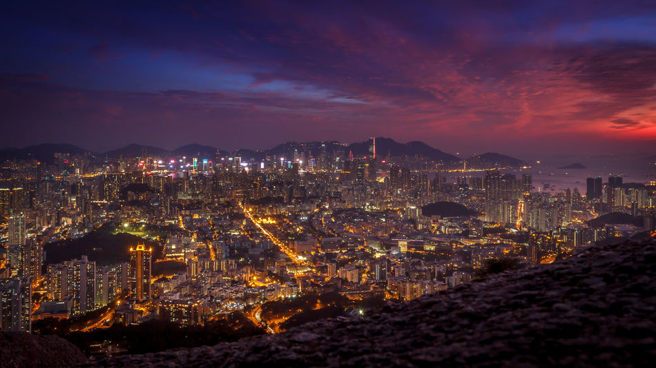 Hong Kong City Night view from Lion Rock Architecture Building Exterior City Cityscape Hong Kong City Hong Kong Skyline Illuminated Lion Rock Mountain Night Night Sky Night View Nightphotography Nightshot No People Sky Skyscraper Sunset Travel Destinations Urban Skyline
