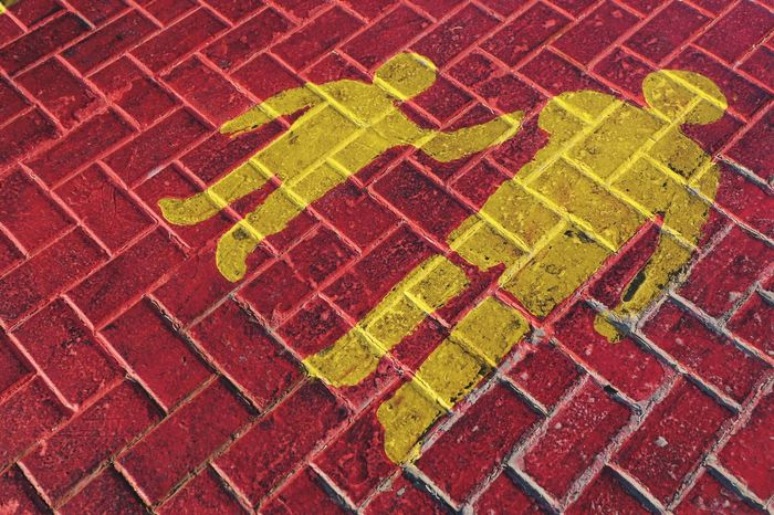 Road Sign Pattern Full Frame Backgrounds High Angle View No People Red Design Multi Colored Day Textured  Footpath Communication Shape Geometric Shape Outdoors Paving Stone Close-up